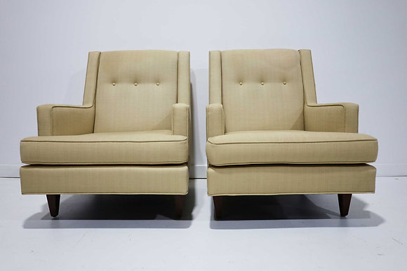 "Pair of Dunbar High Back ""Mr."" Lounge Chairs by Edward Wormley"