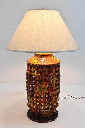 Mid-Century Modern Large Pierced Ceramic Lamp in Ochre, Paprika, and Caramels