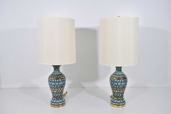 Midcentury Ceramic Tiled Lamps in Turquoise and Gold