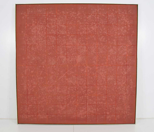 """VINCENT LONGO, American (b. 1923), Grid in Terracotta 73.25"""" Square with frame"""