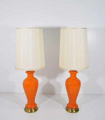 Mid-Century Modern Lamps in Orange Ceramic
