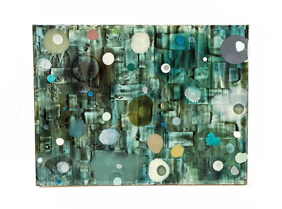 Jeff Leonard Abstract Resin Panel in Aqua Greens and Blues