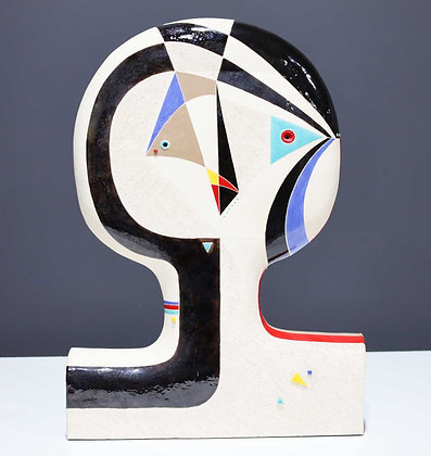 Large Mary Prack Ceramic Face Sculpture, Picasso Style
