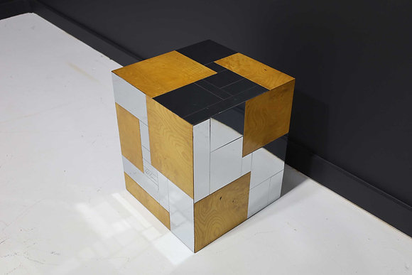 Paul Evans Signed Side Table in Burl Wood and Chrome