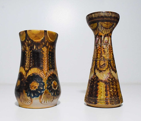 Jean-Claude Courjault Signed Ceramic Vases in Bronzes and Blues