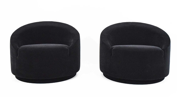 Mid Century Modern Swivel Tub Chairs in Black Mohair