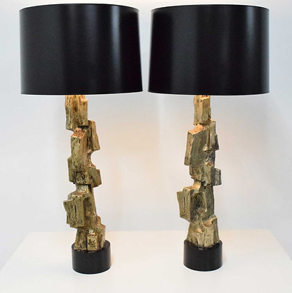 Pair of Laurel Lamp Company Brutalist Lamps