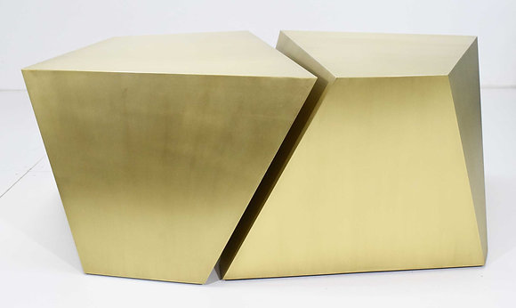 Pair of Faceted Cocktail Tables in Satin Gold Finish