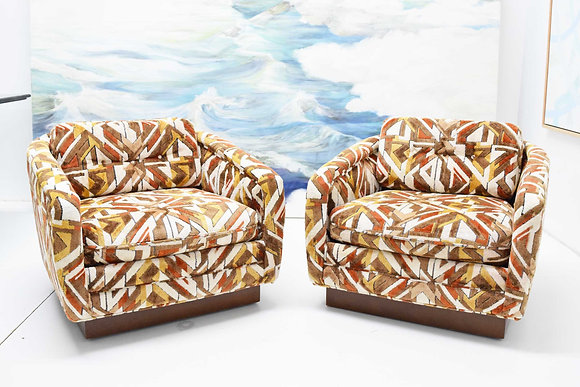 Swivel Lounge Chairs in Gorgeous Fabric by Silver-Craft Furniture Company