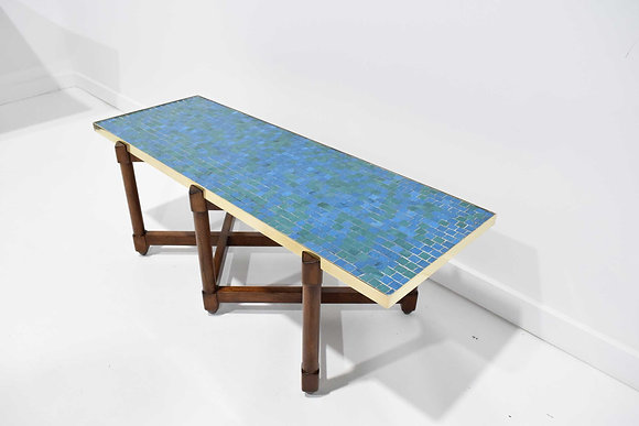 Edward Wormley for Dunbar Cocktail Table with Glass Tile Top and Brass Trim