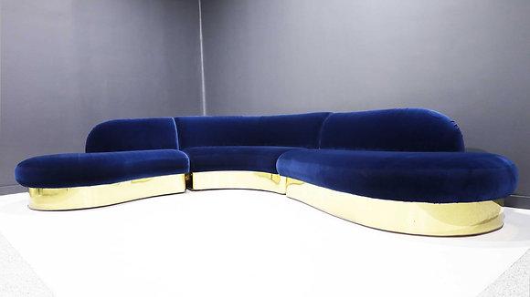Large Milo Baughman Serpentine Cloud Sofa in Navy Blue Velvet