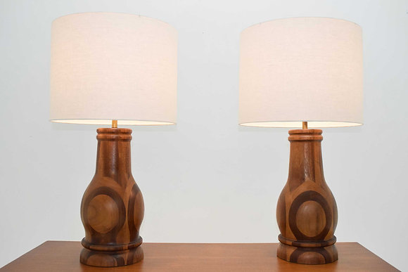Mid Century Studio Craft Large Marquetry Patterned Wood Lamps, 1950s