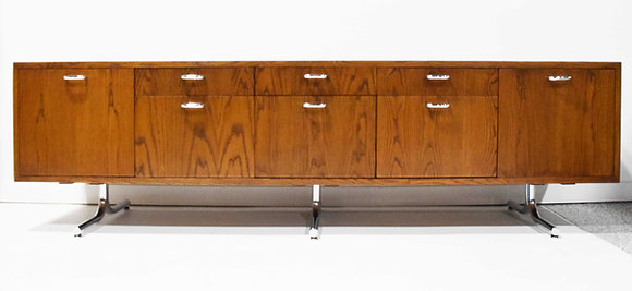 Hans Eichenberger for Stendig Oak Credenza with Stylized Chrome Legs