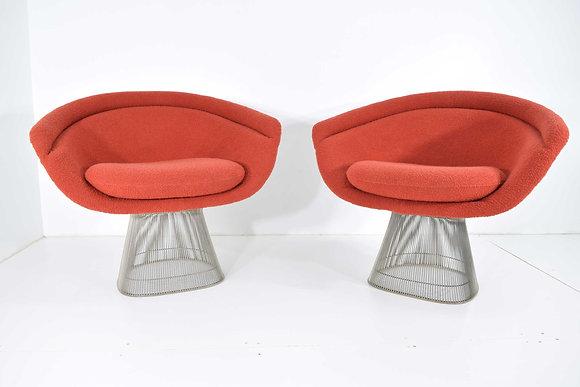 Pair of 1960s Nickel Plated Warren Platner Lounge Chairs