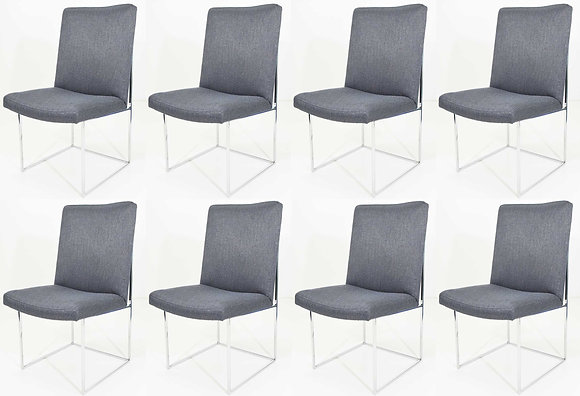 Milo Baughman Chrome Dining Chair in Holly Hunt Blue Alpaca, by Pairs up to 8