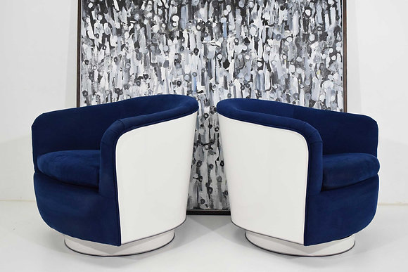 Pair of Milo Baughman Tilt/Swivel Lounge Chairs in Blue W/ White Lacquer