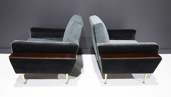 Pair of 1950s Italian Lounge Chairs in New Upholstery by Rubelli and Mokum