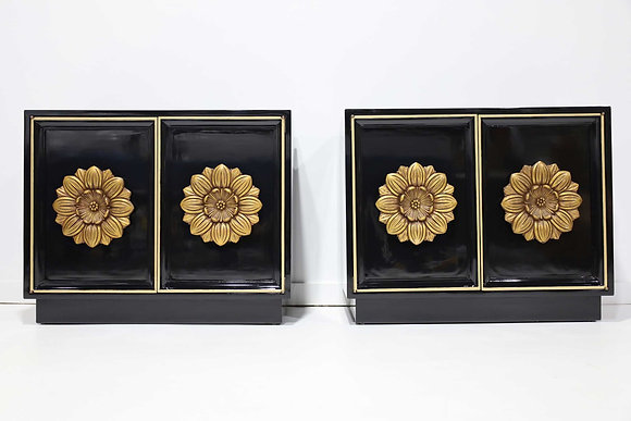 Pair of Lane Floral Chests in Black Laquer
