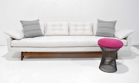 Adrian Pearsall Gondola Sofa in Holly Hunt Outdoor Fabric in Nubby White