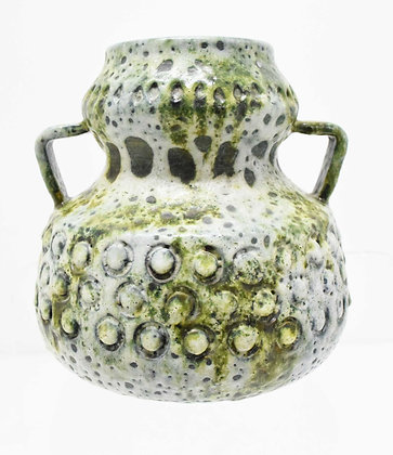 Post War Fat Lava Vase in Green and Off White, West Germany