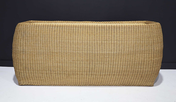 Large Bulbous Clean Line Wicker Console Table
