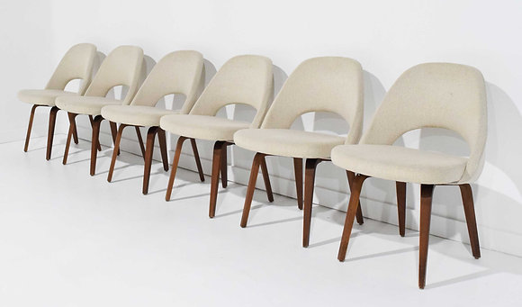 Eero Saarinen for Knoll Executive Dining Chairs in Off White