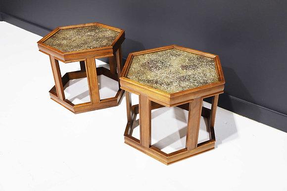 Pair of Brown Saltman Hexagon Tables