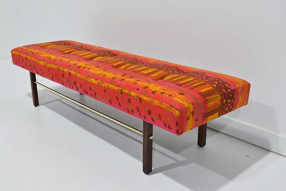 Milo Baughman Thayer Coggin Bench in Jack Lenor Larsen Vibrant Pink Precipice
