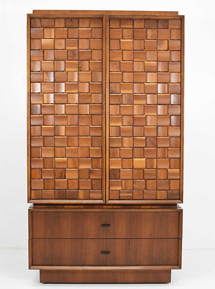 Cabinet and Chest of Drawers in Walnut With Woven Sculpted Front, dtd. 1977