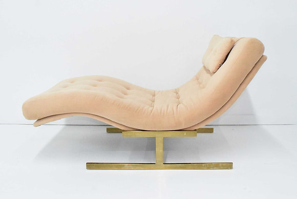 Milo Baughman Wave Chaise in Blush Pink with Brass Frame