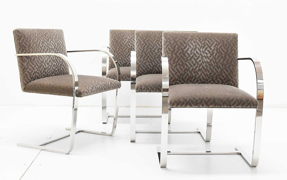 Set of Four Mies van der Rohe Brno Chairs in Mohair