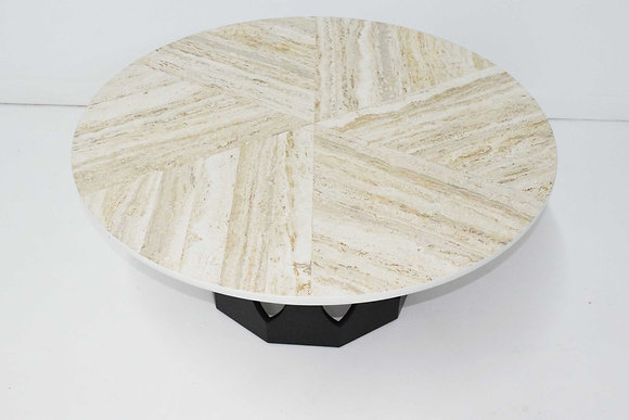 Harvey Probber Travertine Top Cocktail Table on Pierced Walnut Hexagonal Base