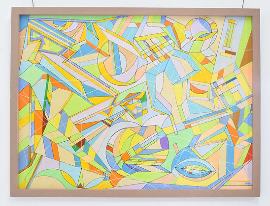 Aaron Marcus, Abstract Geometric Oil on Canvas, dtd 2010