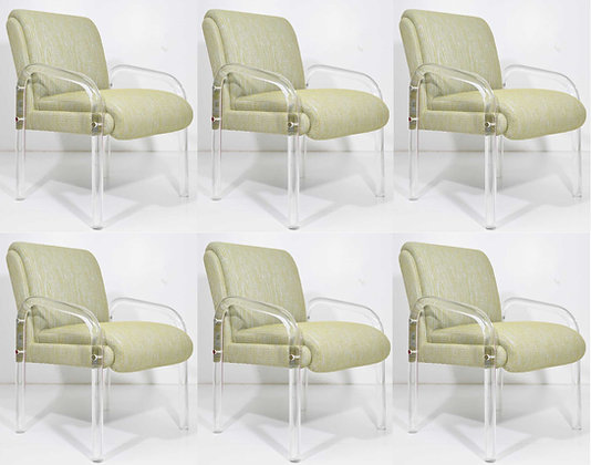 Set of Six Leon Rosen for Pace Collection Lucite Dining Chairs