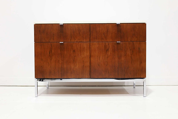 Florence Knoll Two Bay Rosewood Credenza with Calacatta Marble Top