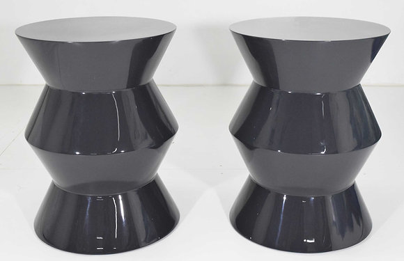Pair of Minotti Cesar Style Side Tables in Dark Gray Lacquer