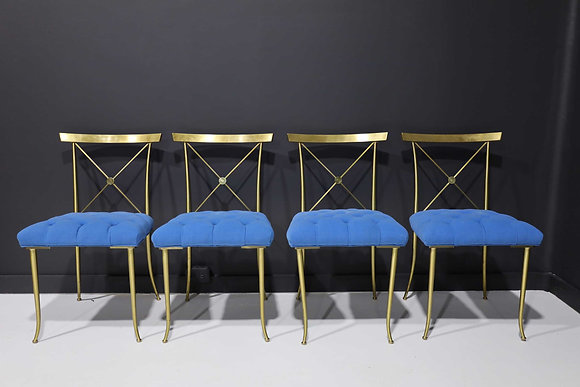 Four William Billy Haines Brass Side Chairs with Original Tufted Upholstery