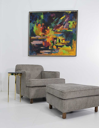 Edward Wormley for Dunbar 1965 Lounge Chair and Ottoman in Gray Tweed