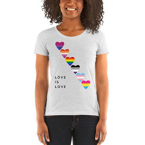 Love is Love Pride Flag Ladies' short sleeve t-shirt