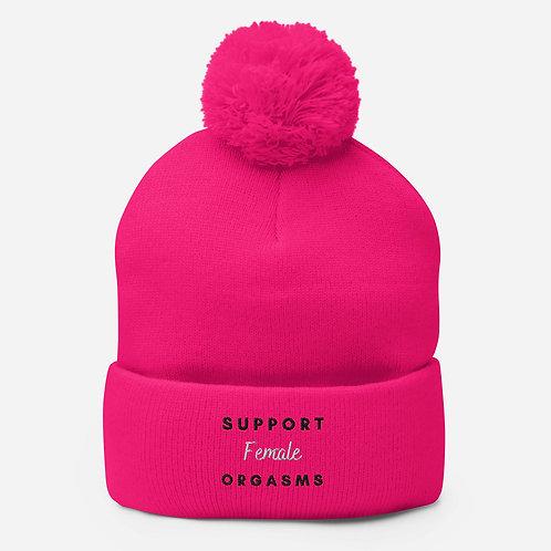 Pink Support Female Orgasms Pom-Pom Beanie