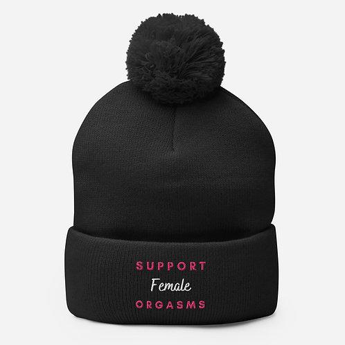 Support Female Orgasms Pom-Pom Beanie