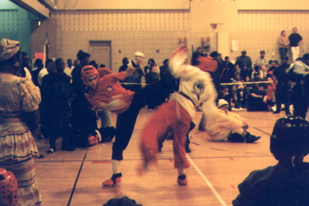 Sparring against Karate