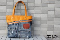 leather&denim bag