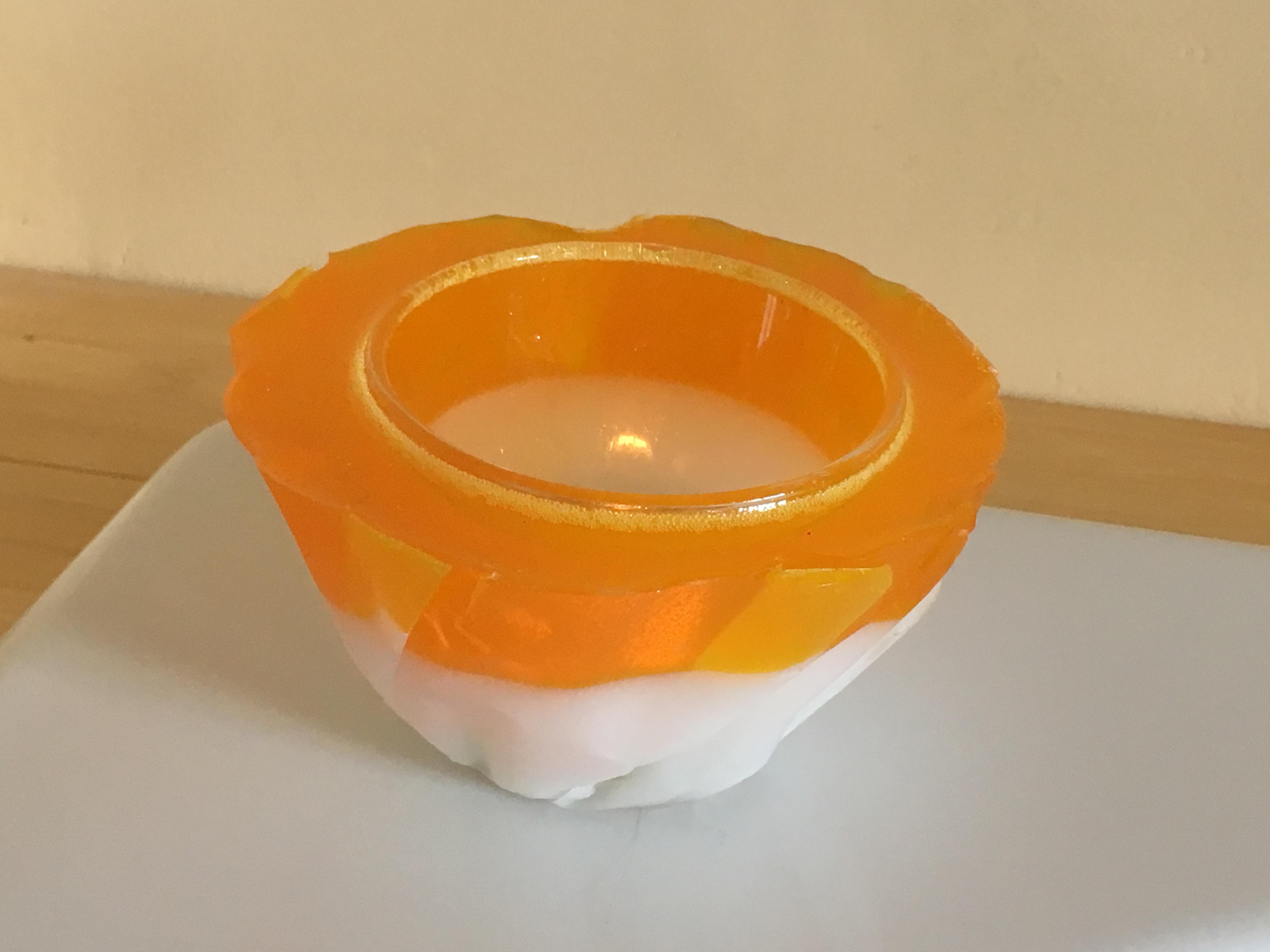 Theelichthouder oranje & wit