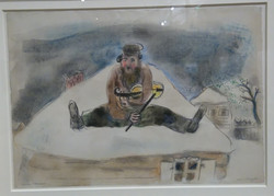 Chagall, L'homme barbu assis avec...