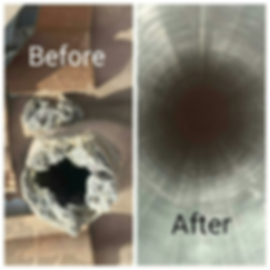 efore and after dryer vent cleaning