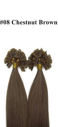 "KERATIN BOND REMY HUMAN HAIR 20""-#8 CHESTNUT Brown"
