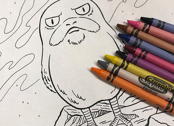 Grumpy Porg Coloring Sheet