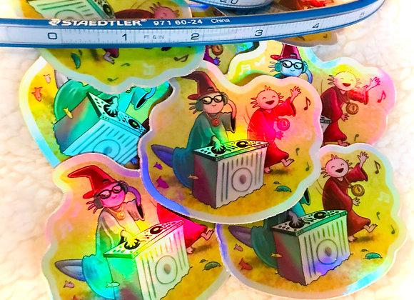 DJ Axolotl Wizard Sticker