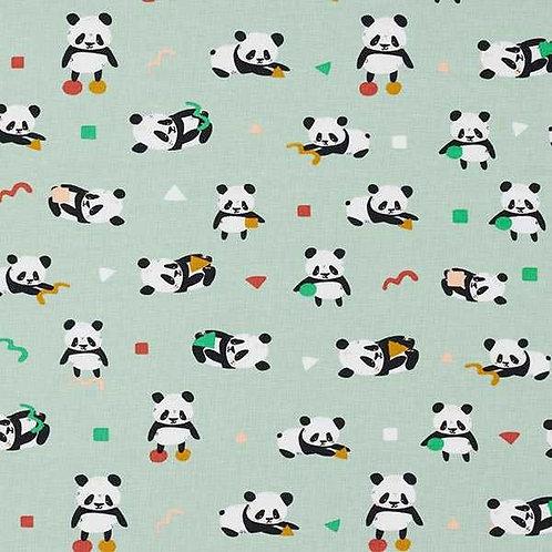 Cotton Jersey | Playful Panda | Pastel Green